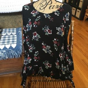 ENTRO Women's Small Long Sleeve Floral Tunic